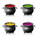 Set of Halloween cauldrons Royalty Free Stock Photography