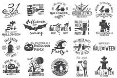 Set of Halloween celebration collection. Set of Halloween celebration collection with retro grunge effect. Halloween party retro templates, badges, seals Stock Image