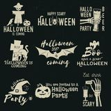 Set of Halloween celebration collection. Set of Halloween celebration collection with retro grunge effect. Halloween party retro templates, badges, seals royalty free illustration