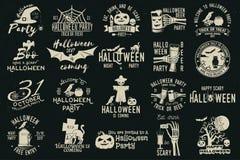 Set of Halloween celebration collection. Set of Halloween celebration collection with retro grunge effect. Halloween party retro templates, badges, seals stock illustration