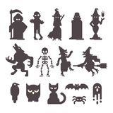 Set of Halloween character silhouettes vector illustration