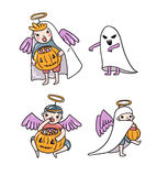 Set of halloween characters. Children in costumes.Ghost and angels with pumpkin and sweets. Stock Photos