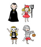 Set of halloween characters. Children in costumes. Vampire, devil, ghost and skeleton. stock illustration