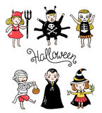 Set of halloween characters. Children in costumes. Vector illustration isolated on the white background. Royalty Free Stock Photography
