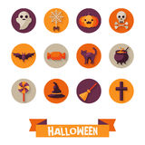 Set of Halloween Characters on Circles Stock Image