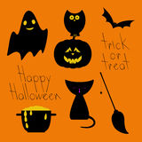 Set of Halloween characters and objects Royalty Free Stock Photos