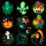 Set of halloween characters. Set of scary halloween characters with seamless pattern at background. EPS 10 royalty free illustration