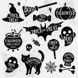 Set of Halloween Characters with Text Inside stock illustration