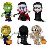 Set Halloween charaktery ilustracji