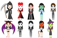 Set of halloween cosplay party by cute girl Royalty Free Stock Photos