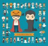 Set of 40 halloween costume characters Stock Image
