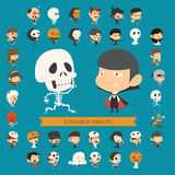 Set of 40 halloween costume characters Stock Photo