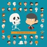 Set of 40 halloween costume characters Stock Photo