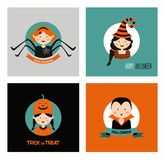 Set of 16 halloween costume characters and kids , vector illustration Stock Photography