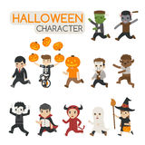 Set of halloween costume characters , trick or treat Stock Photography