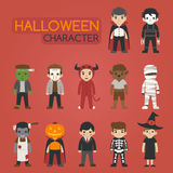 Set of halloween costume characters , trick or treat Royalty Free Stock Photos