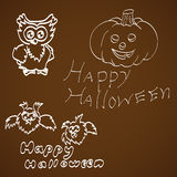 Set Of Halloween on a dark background Royalty Free Stock Photo