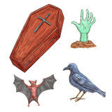 Set of Halloween decoration elements. Vector sketch icons of wooden coffin with cross, undead zombie hand stretching from grave, spooky bat and black crow vector illustration