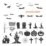 Set of halloween design creation tool kit. Icons isolate. Flat holiday design creator. Party symbols - pumpkin, bat Stock Images