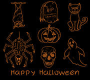 Set of Halloween doodle elements Royalty Free Stock Photos