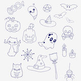 Set for Halloween in doodle style. Ghosts, pumpkins and hats. Stock Images