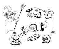 Set with halloween doodles Royalty Free Stock Photos