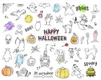 Set of Halloween doodles Stock Photo