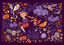 Set of Halloween elements. Beautiful wallpaper with cartoon characters. Stock Photo