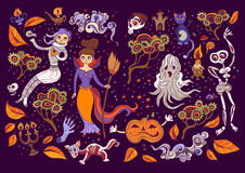 Set of Halloween elements. Beautiful wallpaper with cartoon characters. Royalty Free Stock Images