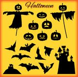 A set of Halloween elements, black on bright background vector illustration