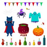 Set Of Halloween Elements Isolated On White Royalty Free Stock Images