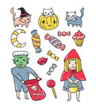 Set of halloween elements. Kids and cats in costumes  isolated on the white background. Vector illustration. Stock Photo