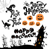 Set of Halloween elements - pumpkin, cat, mystery. House and other terrifying things. Handwritten calligraphic text - Happy Halloween, Trick or Treat vector illustration