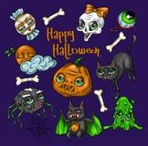 Set Halloween elementu łaty: bania, czaszka, pająk, Szlamowy, kot, nietoperz, kość Halloweenowa ikony kolekcja Obraz Royalty Free