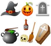Set of Halloween equipment cartoon Royalty Free Stock Image