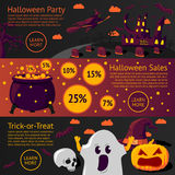 Set of halloween flat banners - Halloween party Royalty Free Stock Photos