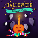 Set of halloween flat icons. Orange pumpkin and candle, witches pot potion, ghost, candy, skull and crossbones. Invitation, poster or card for Halloween Night Stock Image