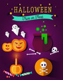 Set of halloween flat icons. Orange pumpkin and candle, witches pot potion, ghost, candy, skull and crossbones. Invitation, poster or card for Halloween Night Royalty Free Stock Photography