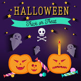 Set of halloween flat icons. Orange pumpkin and candle, witches pot potion, ghost, candy, skull and crossbones. Invitation, poster or card for Halloween Night Stock Images