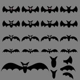 Set of Halloween Flying Bats for your Design, Game, Card. Big Collection of Bat Silhouettes. Vector Illustration. stock illustration