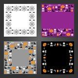 Set of Halloween Frames. Celebration backgrounds. vector illustration