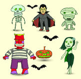 Set of Halloween. Ghosts around the world, vector cartoon Royalty Free Stock Image