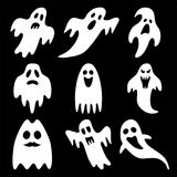 Set of Halloween ghosts isolated on background Royalty Free Stock Photo