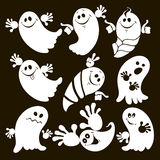 Set of halloween ghosts . Isolated  illustration on black Royalty Free Stock Image