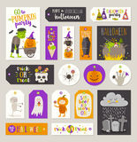 Set of Halloween gift tags and labels Stock Photos
