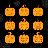 Set of Halloween glowing pumpkin with different expressions Stock Image