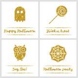Set of Halloween gold textured icons Stock Photos