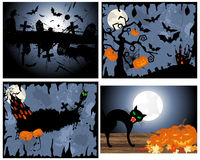 Set of Halloween Greeting Cards Royalty Free Stock Images