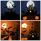 Set of Halloween Greeting Cards Royalty Free Stock Photo