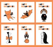 Set of Halloween greeting cards Royalty Free Stock Photography